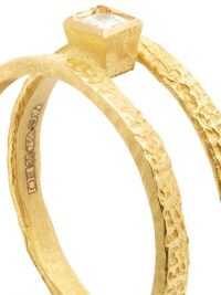 ORIT ELHANATI Roxy Graphic diamond & 18kt gold ring ~ hammered contemporary jewellery