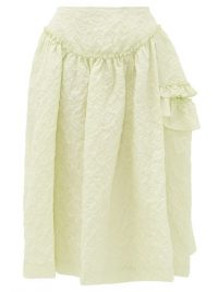 SIMONE ROCHA Ruffled floral-cloqué skirt in green – voluminous skirts