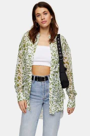 TOPSHOP Sage Green Animal Print Oversized Shirt