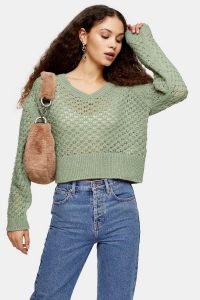 Topshop Sage Honeycomb Knitted Jumper | green v-neck sweater