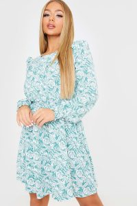 IN THE STYLE SAGE PALM LEAF PRINT RUCHED WAIST MINI DRESS