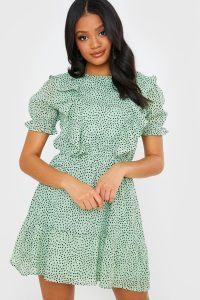 IN THE STYLE SAGE POLKA DOT MINI FRILL DRESS – ruffled green dresses