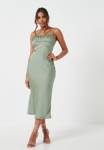 MISSGUIDED sage ruched bust strappy midi dress – thin shoulder dtrap dresses