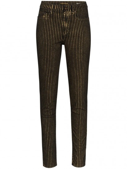 SAINT LAURENT metallic striped skinny jeans / shimmering skinnies