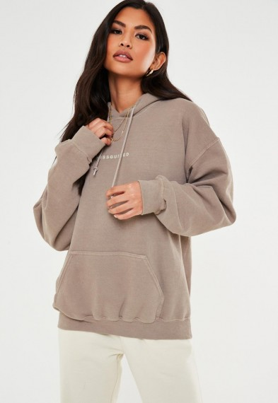 MISSGUIDED sand missguided drawstring washed hoodie