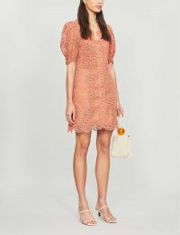 SANDRO Livan lace mini dress in coral   sheer sleeved fashion