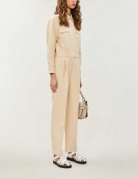 SANDRO Uno belted cotton-linen-blend jumpsuit in beige ~ utilitarian look