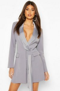 BOOHOO Sash Detail Blazer Dress in Blue / going out jacket dresses