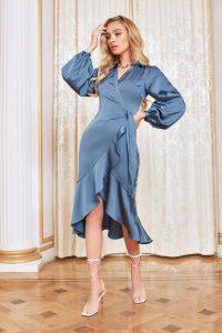 LAVISH ALICE satin balloon sleeve wrap dress in steel blue – frill trimmed hemline