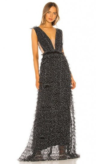 SAU LEE Catherine Gown in Black – deep plunge gowns - flipped