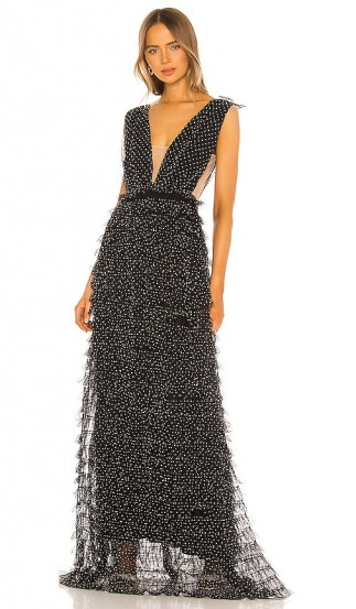 SAU LEE Catherine Gown in Black – deep plunge gowns