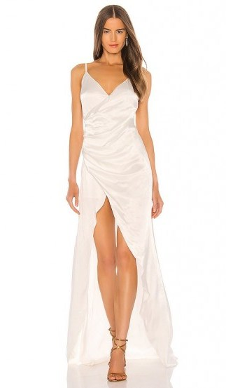 SAU LEE Savannah Gown in Ivory – strappy satin gowns - flipped