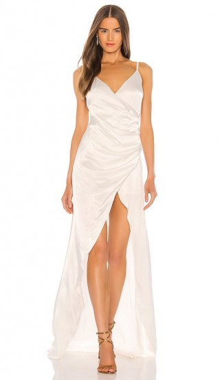 SAU LEE Savannah Gown in Ivory – strappy satin gowns