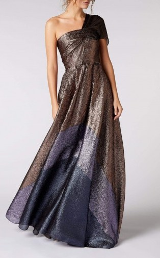 ROLAND MOURET SAVANNAH GOWN in ROSE GOLD MULTI ~ stunning one shoulder gowns - flipped
