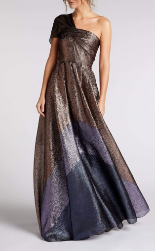 ROLAND MOURET SAVANNAH GOWN in ROSE GOLD MULTI ~ stunning one shoulder gowns