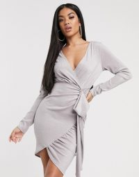 Scarlet Rocks plunge mini jersey dress in taupe / wrap style dresses