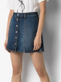 Self Cinema Love Me Button-Up Denim Mini Skirt