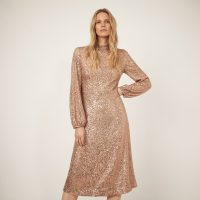 WAREHOUSE SEQUIN HIGH NECK MIDI DRESS GOLD