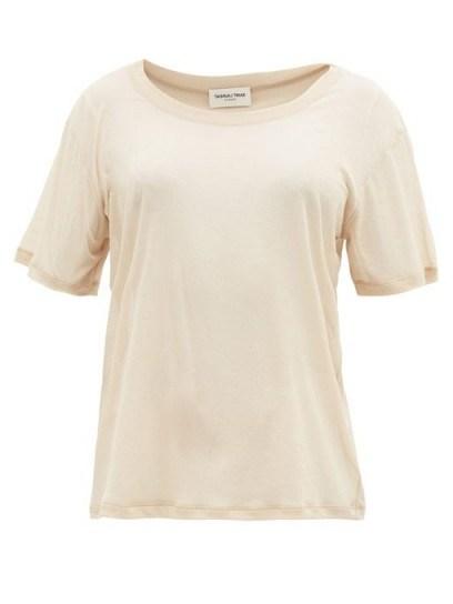 SAINT LAURENT Sheer beige cotton-jersey T-shirt - flipped