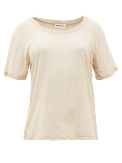 SAINT LAURENT Sheer beige cotton-jersey T-shirt