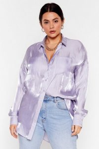 NASTY GAL Shine Bright Tonight Plus Satin Shirt in Lilac