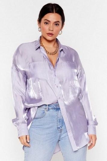 NASTY GAL Shine Bright Tonight Plus Satin Shirt in Lilac - flipped