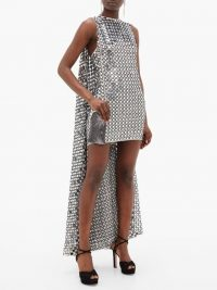 ASHISH Shisha-mirror embroidered cape-back mini dress | vintage style glamour