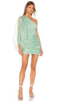 Shona Joy Desi One Shoulder Ruched Mini Dress in Spearmint