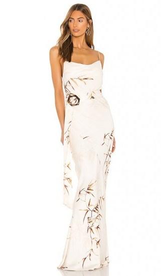 Shona Joy Horizon Bias Cowl Maxi Dress in Cream & Tan - flipped