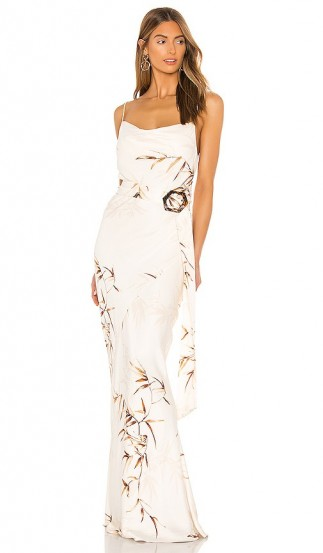 Shona Joy Horizon Bias Cowl Maxi Dress in Cream & Tan