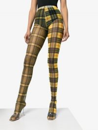 Shuting Qiu Patchwork Check Tights in Yellow