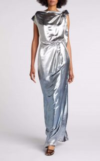 ROLAND MOURET SILVABELLA GOWN in SILVER BLUE METALLIC