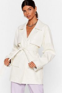 NASTY GAL x Josefine H.J Simple as That Croc Faux Leather Jacket in White