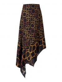 Joseph Siri Viscose Small Logo Skirt in Black | asymmetric hemlines