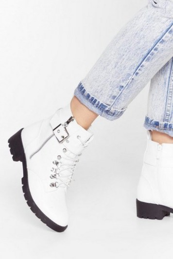 NASTY GAL Sit Down and Buckle Up Faux Leather Ankle Boots in White - flipped