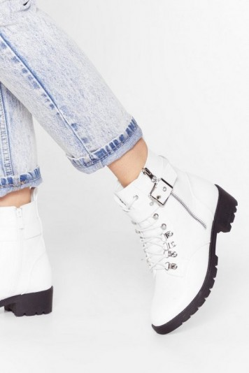 NASTY GAL Sit Down and Buckle Up Faux Leather Ankle Boots in White