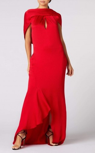 ROLAND MOURET SKYLARK GOWN in CRIMSON ~ red hammered silk gowns ~ sultry special-event look - flipped