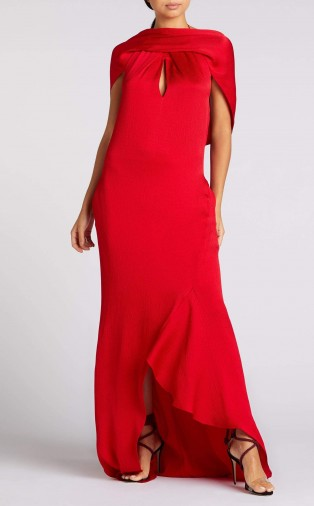 ROLAND MOURET SKYLARK GOWN in CRIMSON ~ red hammered silk gowns ~ sultry special-event look