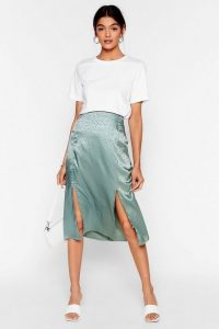 Nasty Gal Sleek a Little Louder Jacquard Midi Skirt in Sage
