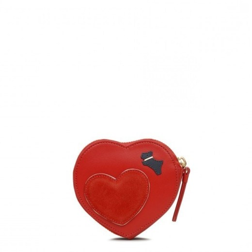 RADLEY LONDON I LOVE YOU SMALL ZIP AROUND COIN PURSE in LADYBUG / red heart shaped purses - flipped