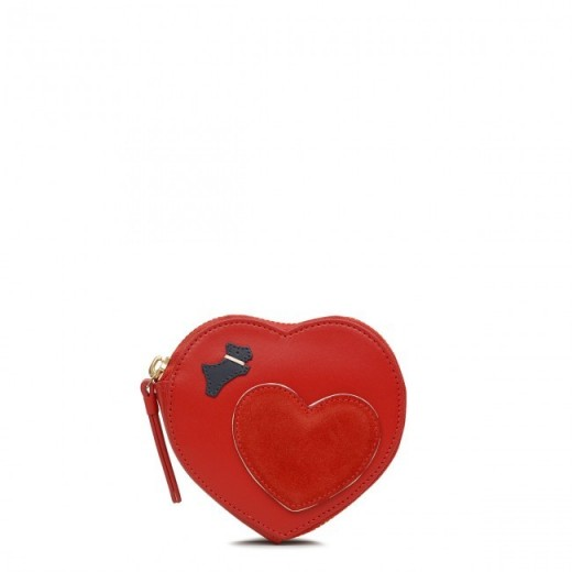 RADLEY LONDON I LOVE YOU SMALL ZIP AROUND COIN PURSE in LADYBUG / red heart shaped purses