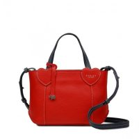 REDLEY LONDON I LOVE YOU SMALL ZIP-TOP MULTIWAY BAG in LADYBUG / red leather handbags