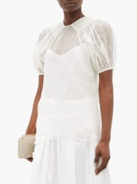 ROCHAS Smocked silk-organza blouse in white