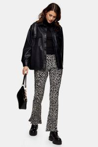 TOPSHOP Smudge Animal Print Plisse Flare Trousers