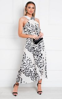IKRUSH Sorsha Pleated Crossover Printed Maxi Dress in White