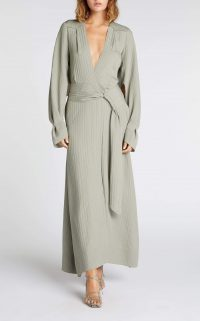 ROLAND MOURET SPRINGBROOKE DRESS in SAGE ~ deep V-neckline dresses