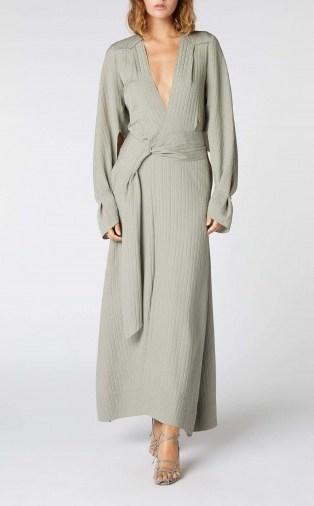 ROLAND MOURET SPRINGBROOKE DRESS in SAGE ~ deep V-neckline dresses - flipped