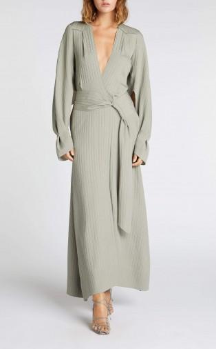 ROLAND MOURET SPRINGBROOKE DRESS in SAGE ~ deep V-neckline dresses