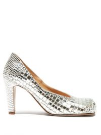 BOTTEGA VENETA Square-toe mirror-embellished satin pumps in silver / high octane evening glamour