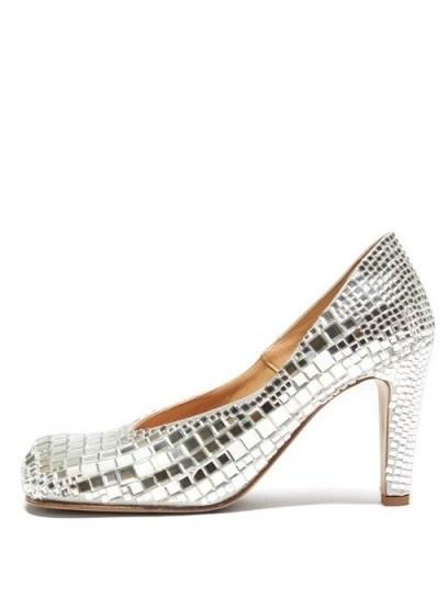 BOTTEGA VENETA Square-toe mirror-embellished satin pumps in silver / high octane evening glamour - flipped
